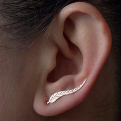 Vintage Feather Stud Earrings Gold Vintage Jewelry -Feather stud earrings