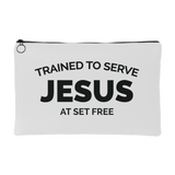 Trained to Serve Jesus at Set Free White Accessory Pouch Pencil Bag Makeup Bag