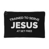 Trained to Serve Jesus at Set Free Black Accessory Pouch Pencil Bag Makeup Bag