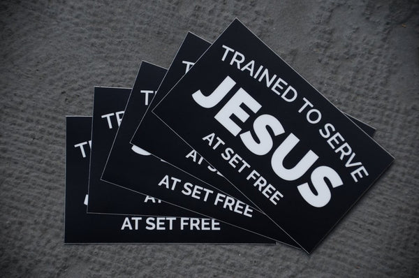 Trained to Serve Jesus Stickers - Pack of 5 Stickers