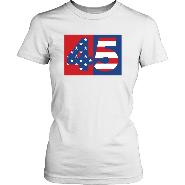 45th President of the United States Flag Stars Stripes Donald Trump POTUS - Womens Shirt Tees