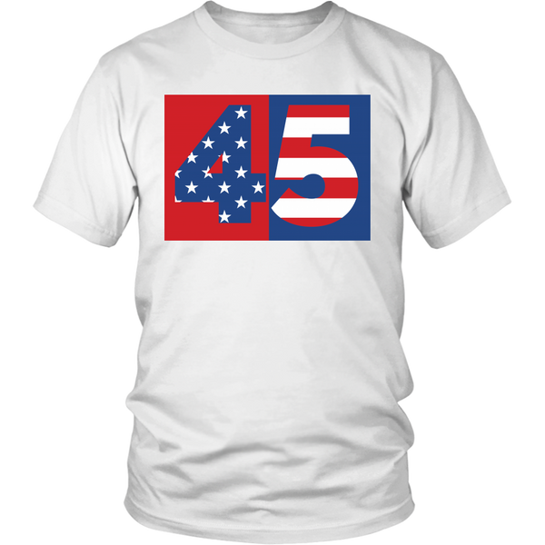 45 President Donald Trump United States Flag Stars Stripes - Unisex Shirt
