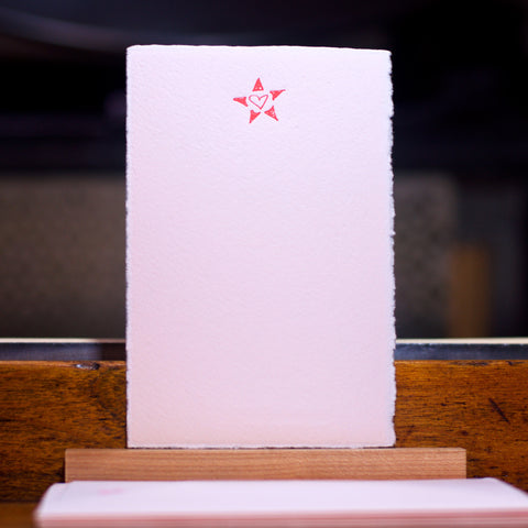 Heart and star letterpress flat note