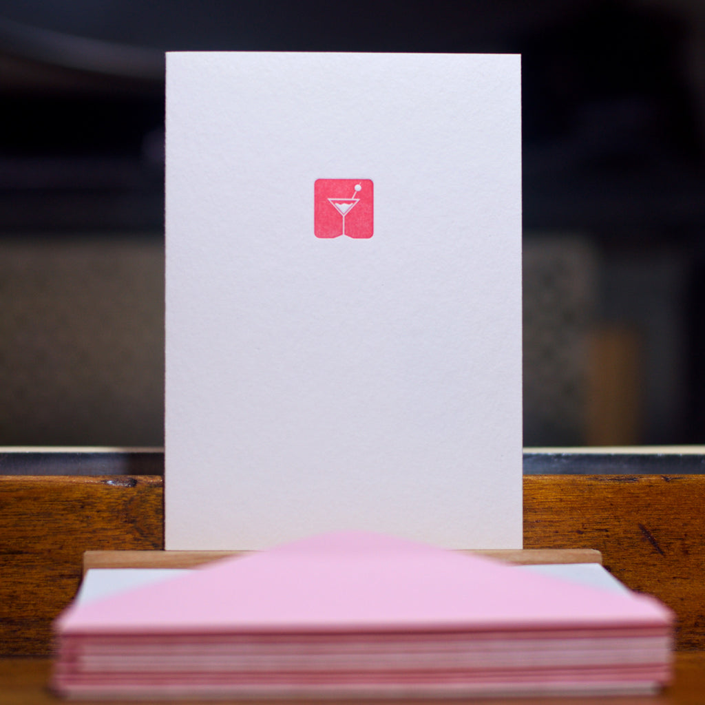 Martini letterpress folded card