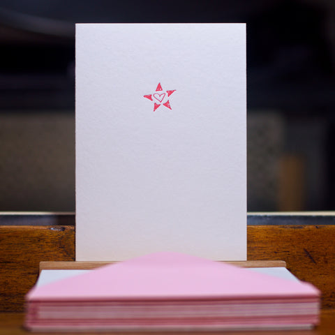 Heart and star letterpress folded card