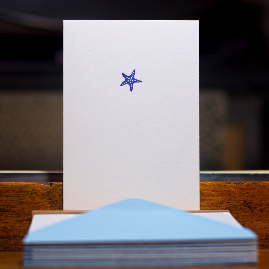 Starfish letterpress folded card