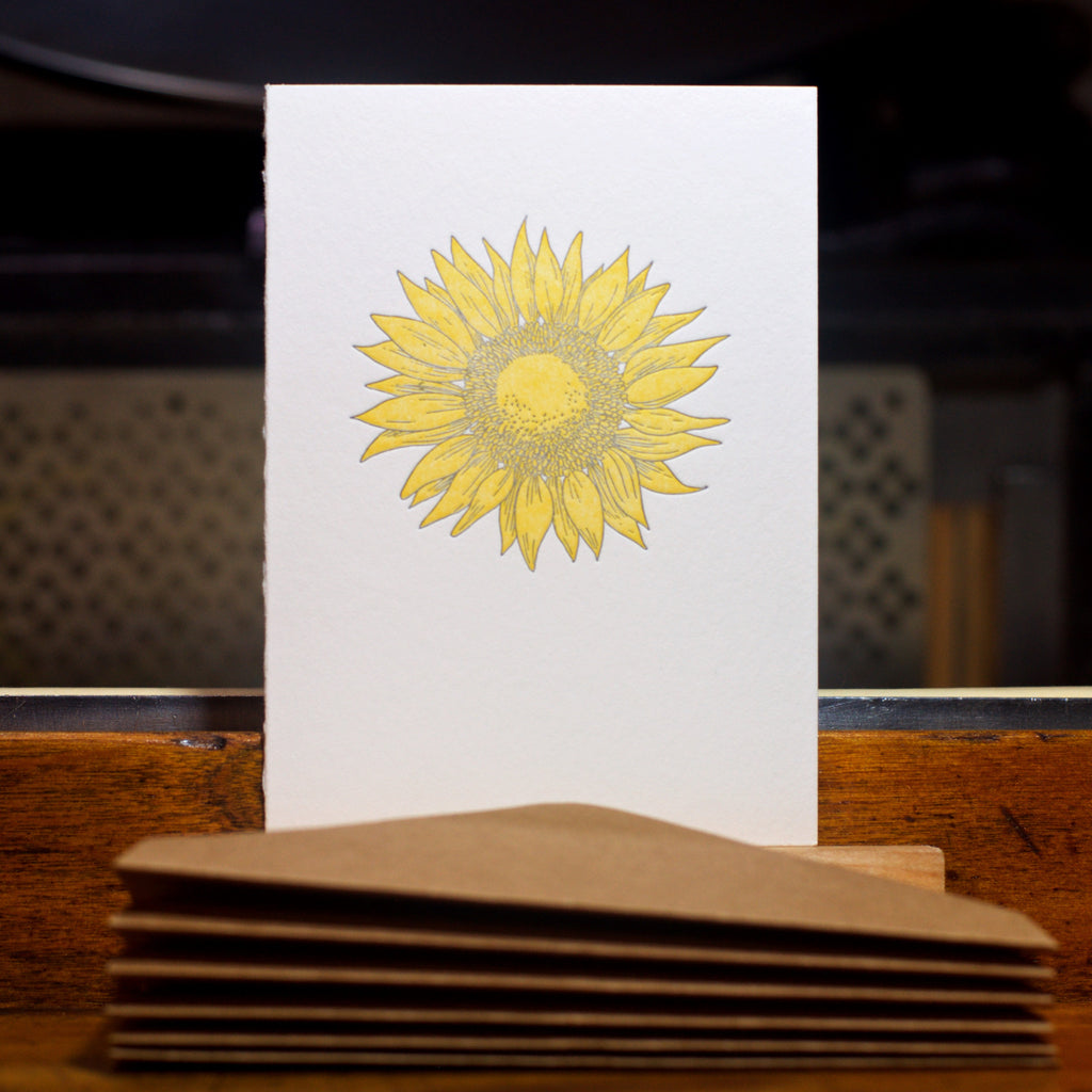 Sunflower letterpress folded card