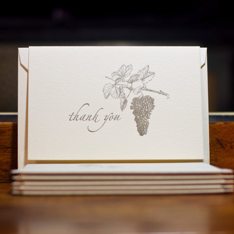 Vineyard thank you letterpress folded cards