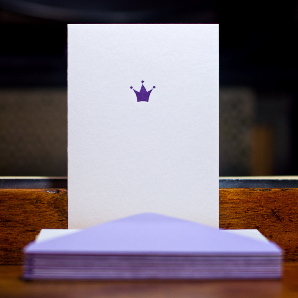 Crown letterpress folded card