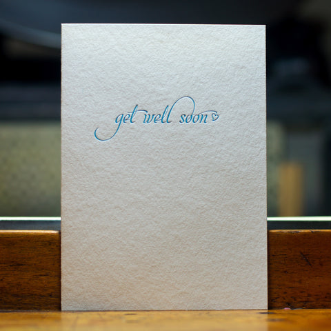 get well soon letterpress greeting card