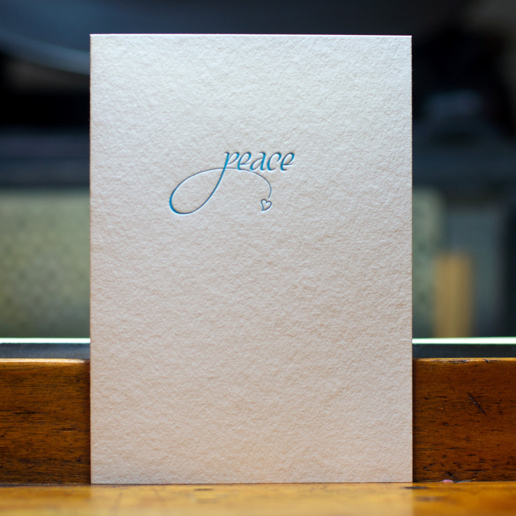 peace letterpress folded greeting card