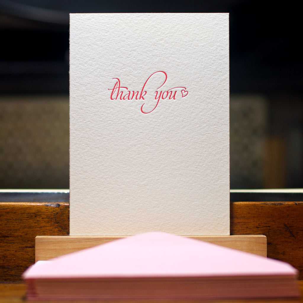 letterpress thank you card in hot pink