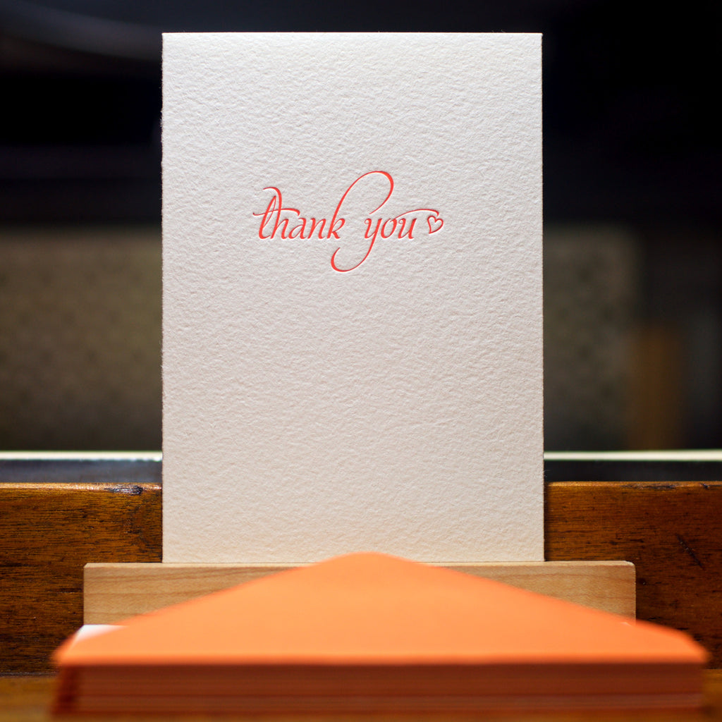 letterpress thank you card in tigerlily