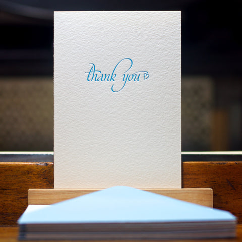 letterpress thank you card in blue atoll