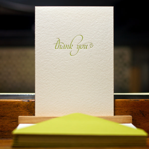 letterpress thank you card in dark chartreuse