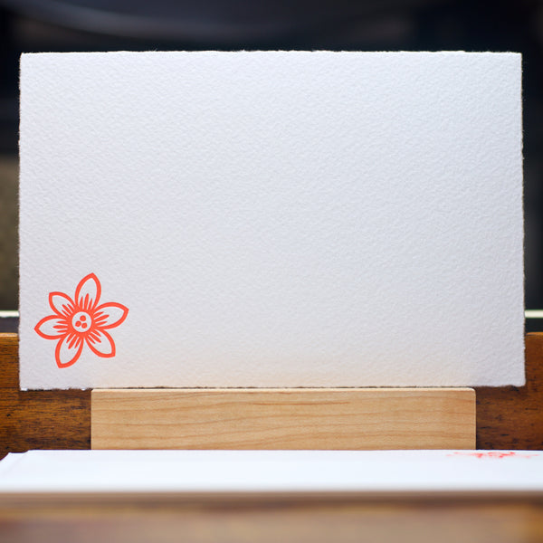 pointed clematis flower letterpress note card in orange