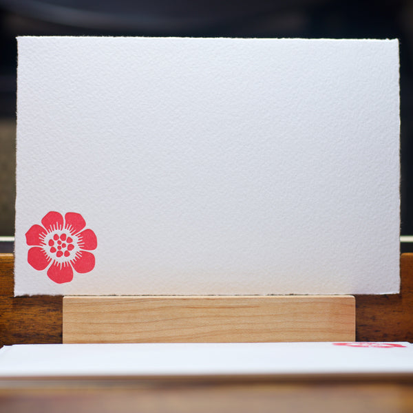 graphic flower letterpress note card in pink