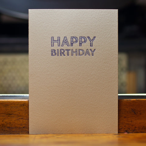 happy birthday sketch type letterpress card