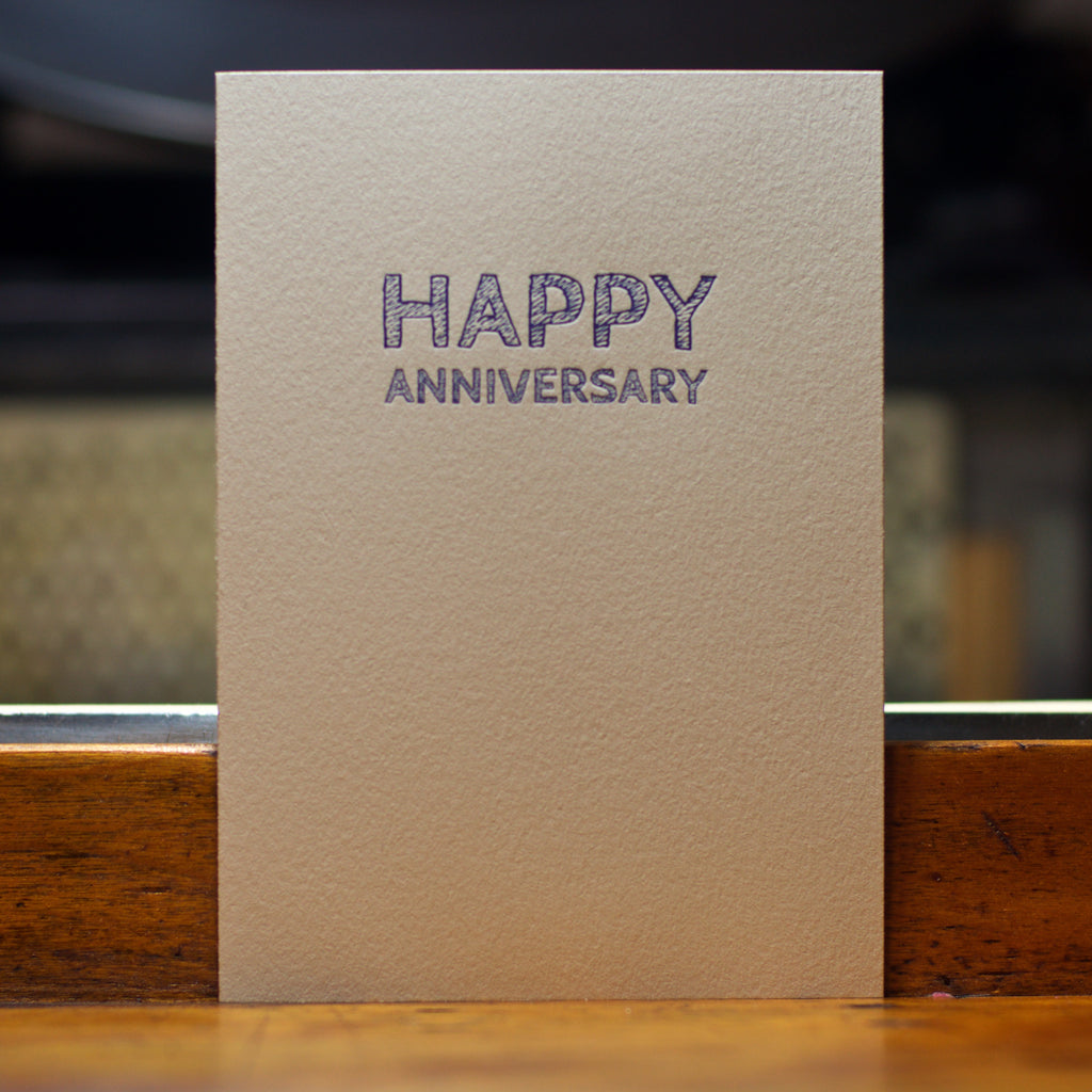 happy anniversary sketch type letterpress card
