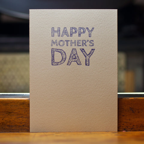 happy mother's day sketch type letterpress card
