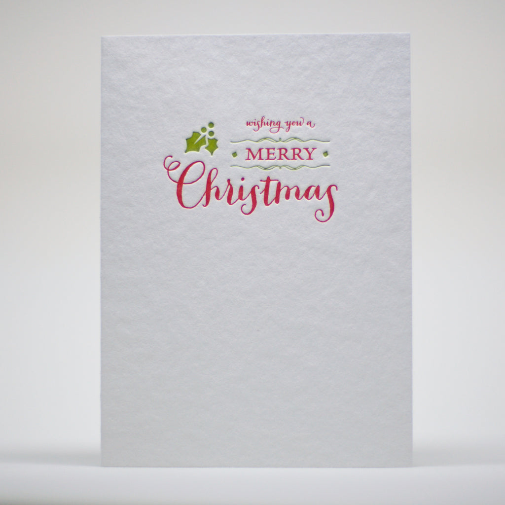 Wishing you a Merry Christmas letterpress card image