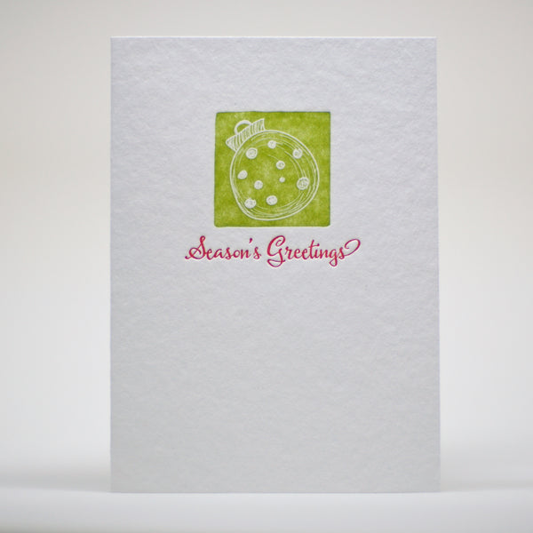 image of seasons greetings letterpress holiday card