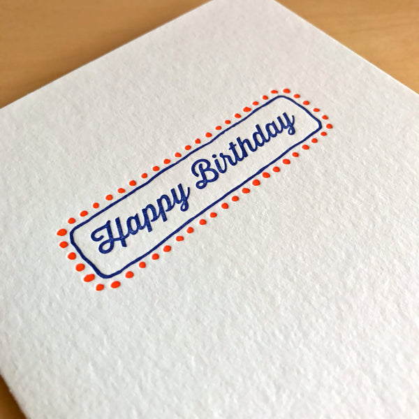 Happy Birthday marquee lights letterpress card