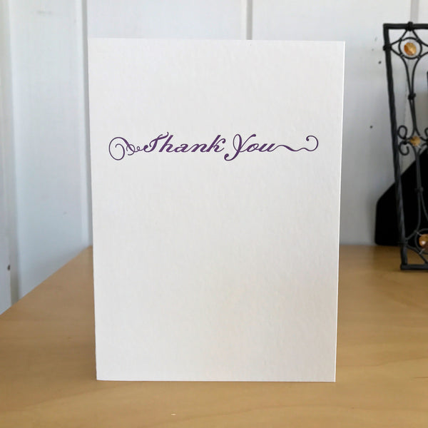 Thank you letterpress card in deep lavender
