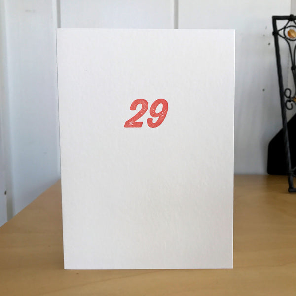 29 again? letterpress card