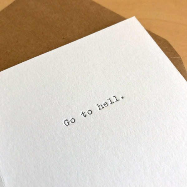 You need a vacation letterpress card