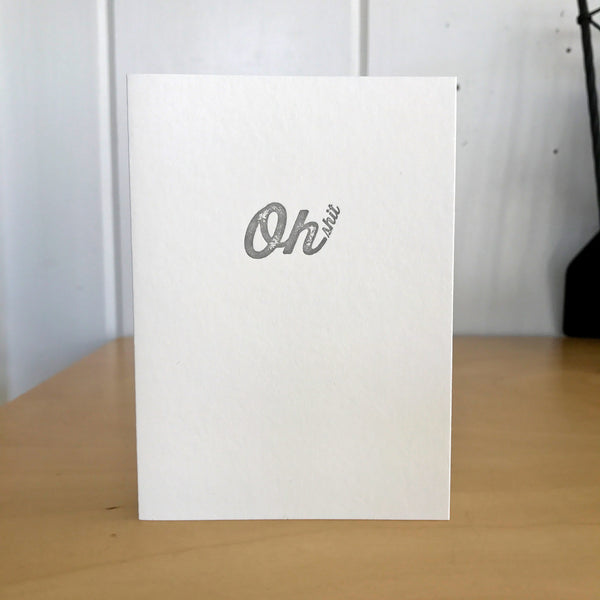Oh shit letterpress card