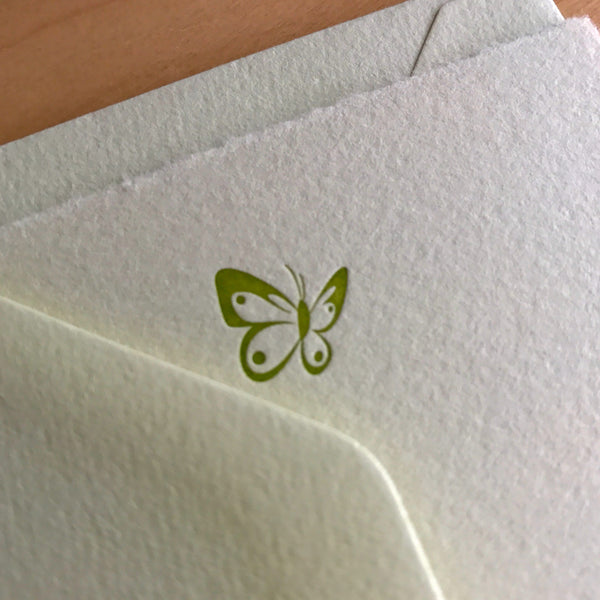 Butterfly letterpress flat note