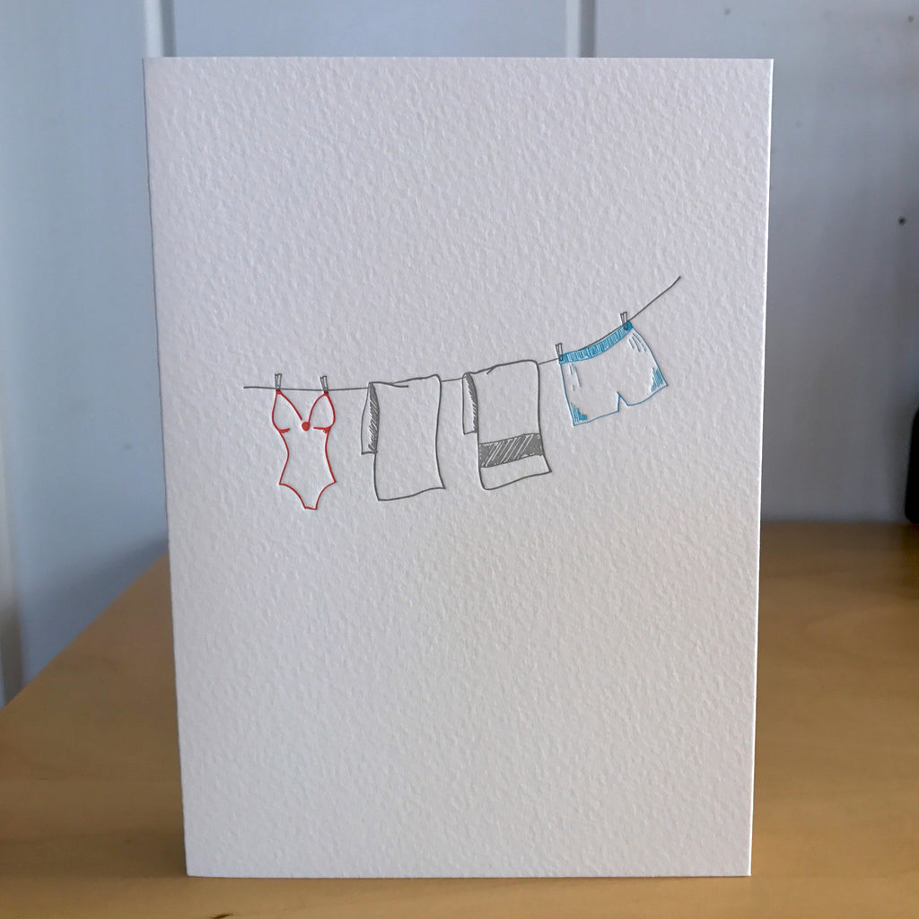 Hers and His letterpress card for wedding anniversary engagement