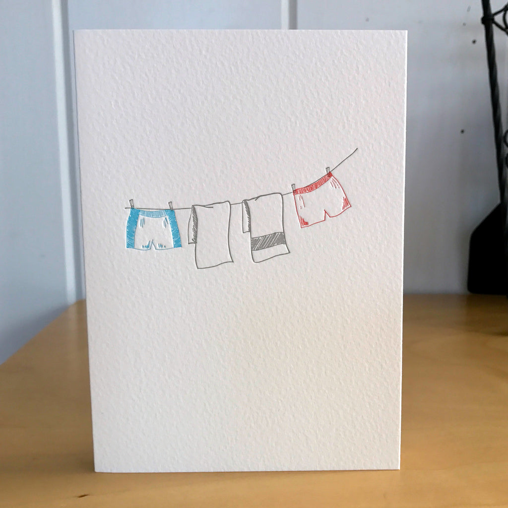 His and His letterpress card for wedding anniversary engagement