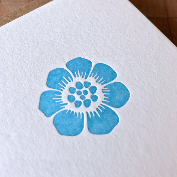 Graphic flower letterpress folded card