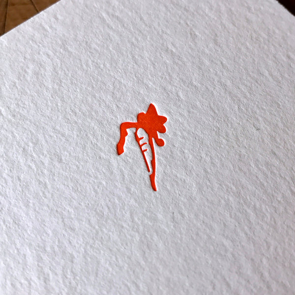 Carrot letterpress folded card