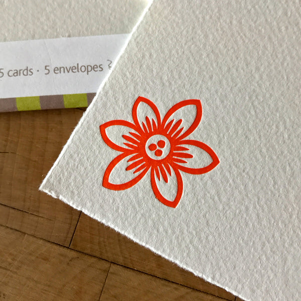 Close up on pointed clematis letterpress flat note