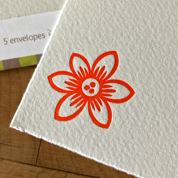 Additional close up on pointed clematis letterpress flat note