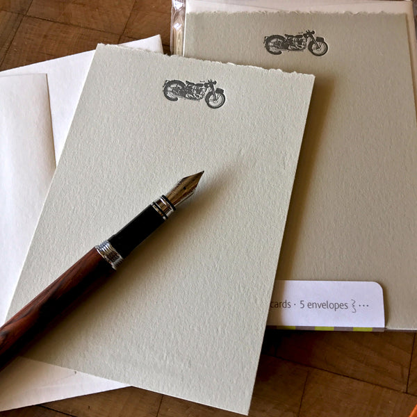 image of motorcycle letterpress flat note card