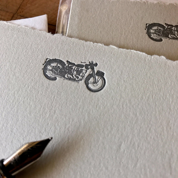 close up on motorcycle letterpress flat note card