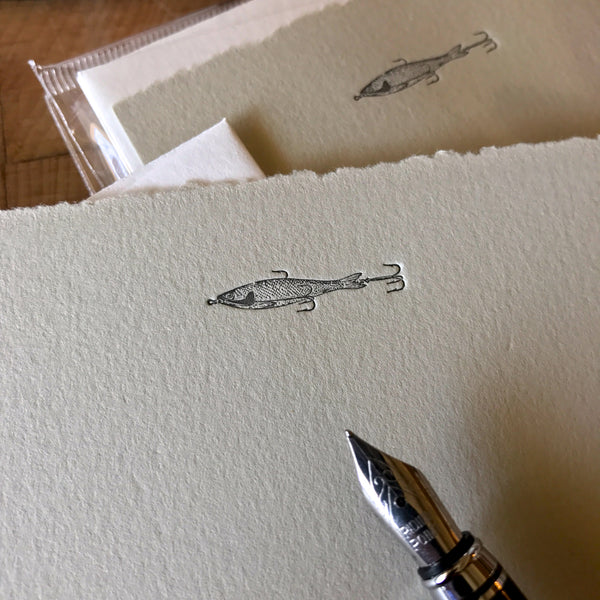 close up on fishing lure letterpress flat note card