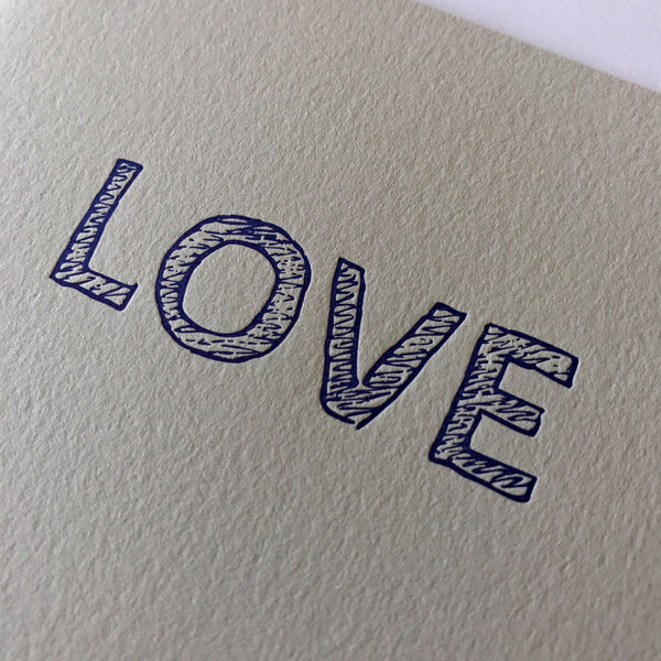 close up on love letterpress card
