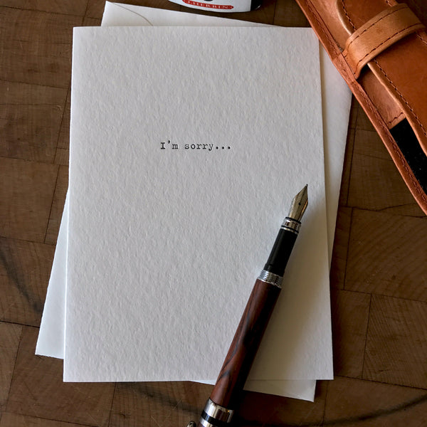 lifestyle image of i'm sorry i was a... letterpress card
