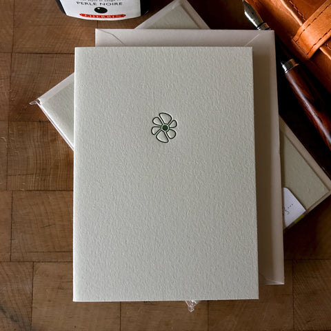 lifestyle image of petal letterpress folded note card
