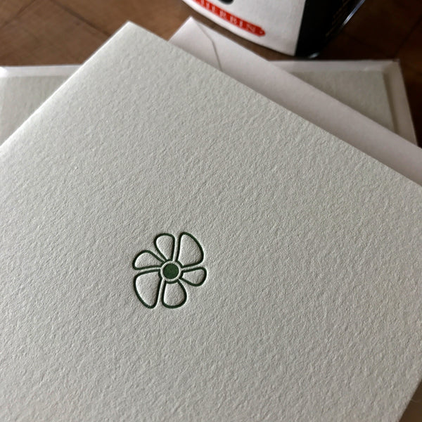 close up of petal letterpress folded note card