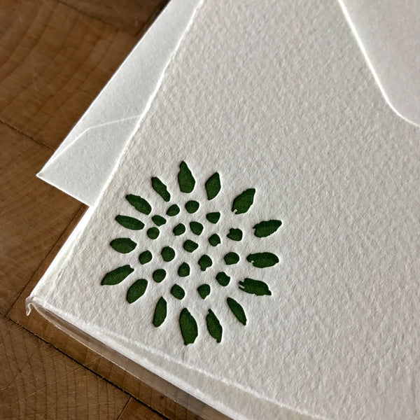 close up of sunflower letterpress flat note card