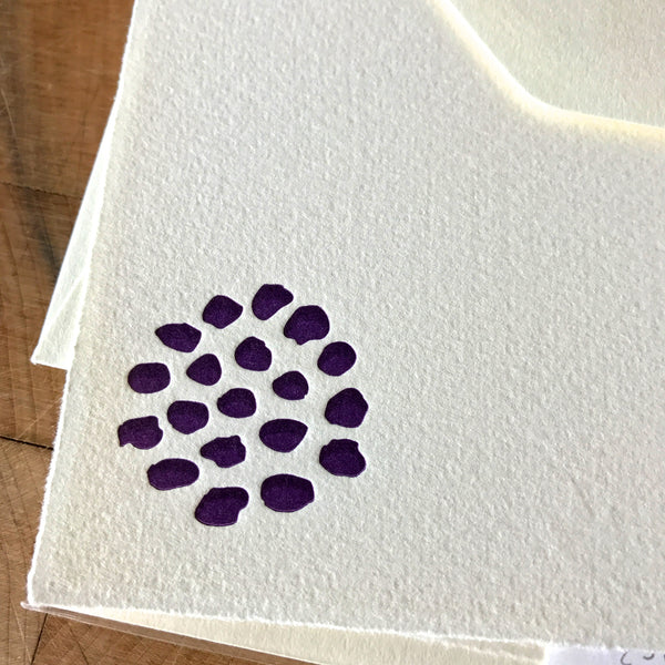 close up on bloom letterpress flat note