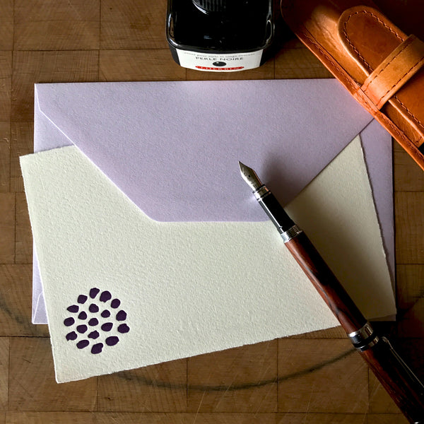 image of bloom letterpress flat note with lavender envelope
