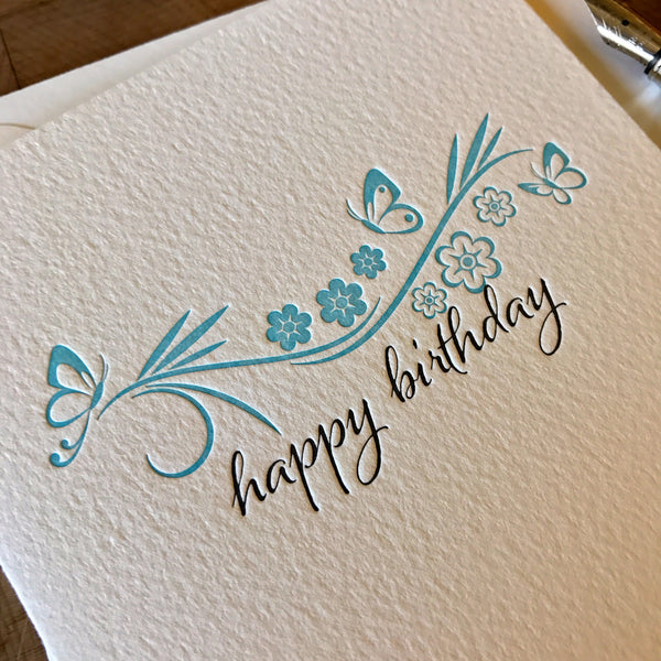 image of happy birthday letterpress card with butterflies