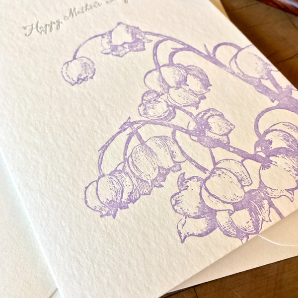 image of happy mothers day card with lavender lily of the valley